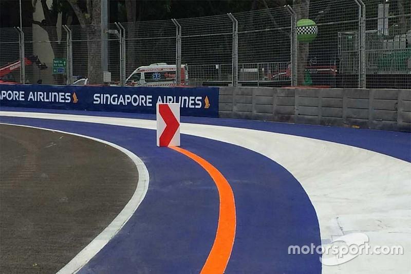 GP di Singapore: chi taglia Curva 2 deve girare dietro a un birillo!