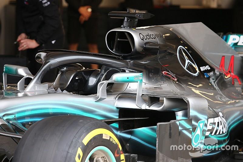 Mercedes: sull'Halo si moltiplicano i deviatori di flusso sul diadema