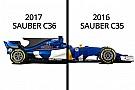 Comparez la Sauber de 2017 à celle de l'an dernier!