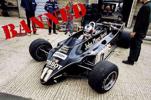"""使用禁止の画期的F1マシン:グランドエフェクトを追求、""""ツインシャシー""""ロータス88"""