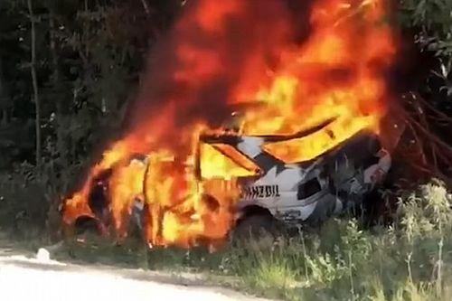 Машина Кена Блока перевернулась и сгорела на ралли: видео