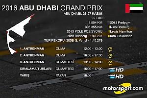 Formula 1 Ön Bakış 2016 Abu Dhabi GP saat kaçta hangi kanalda?