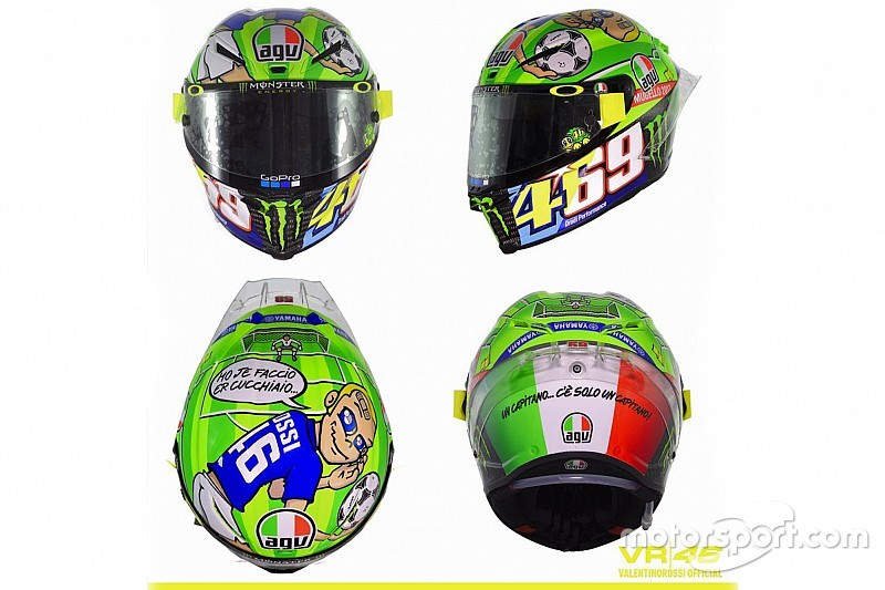 un casque en hommage totti et hayden pour rossi au mugello. Black Bedroom Furniture Sets. Home Design Ideas