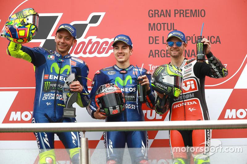 Podium: 1. Maverick Viñales, Yamaha Factory Racing; 2. Valentino Rossi, Yamaha Factory Racing; 3. Ca