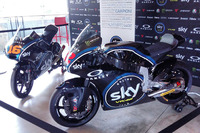 The Moto3 bike of Andrea Migno and Moto2 bike of Francesco Bagnaia