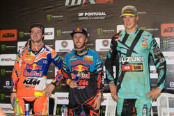 Podium: tweede Jeffrey Herlings, winnaar Antonio Cairoli en derde Arminas Jaskonis
