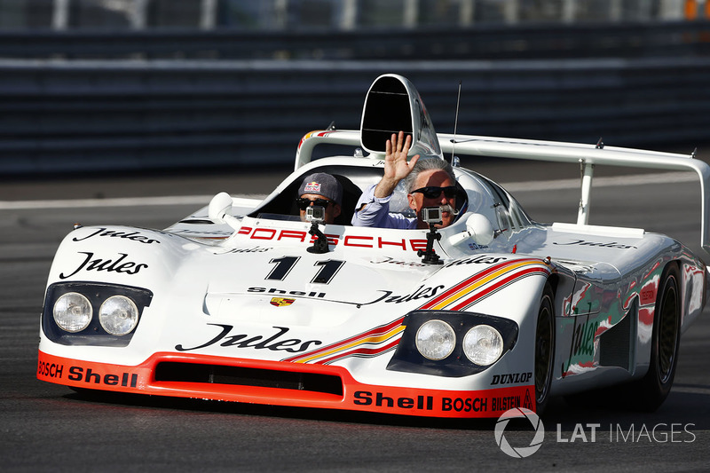 Chase Carey, Chairman, Formula One, rides in a 1981 Porsche 936 racer driven by Neel Jani