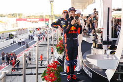 Third place Daniel Ricciardo, Red Bull Racing, takes a picture on the podium