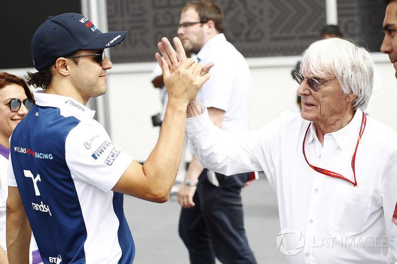 Felipe Massa, Williams y Bernie Ecclestone, presidente honorario de la fórmula 1