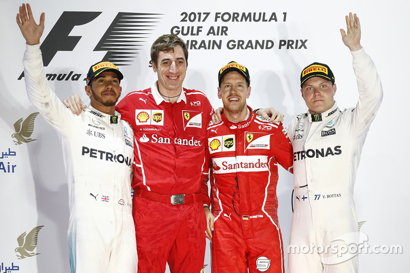 Podium: race winner Sebastian Vettel, Ferrari, second place Lewis Hamilton, Mercedes AMG F1, third place Valtteri Bottas, Mercedes AMG F1, Matteo Togninalli, Chief Race Engineer, Ferrari