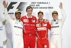 Podium: race winner Sebastian Vettel, Ferrari, second place Lewis Hamilton, Mercedes AMG F1, third place Valtteri Bottas, Mercedes AMG F1, Matteo Togninalli, Chief Race Engineer, Ferrari