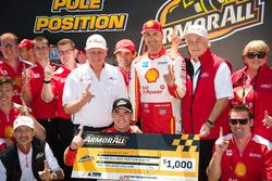 Scott McLaughlin, Team Penske Ford, Fabian Coulthard, Team Penske Ford, Roger Penske team owner of DJR Team Penske, Dick Johnson team owner of DJR Team Penske celebrate the Pole position