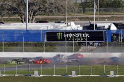 Aric Almirola, Stewart-Haas Racing with Biagi-Denbeste Racing, Smithfield/DenBeste Water Solutions Ford Mustang, \xy\ and Kaz Grala, JGL Racing, NETTTS Ford Mustang crash