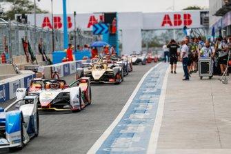 Daniel Abt, Audi Sport ABT Schaeffler, Audi e-tron FE05, Andre Lotterer, DS TECHEETAH, DS E-Tense FE19, down the pitlane