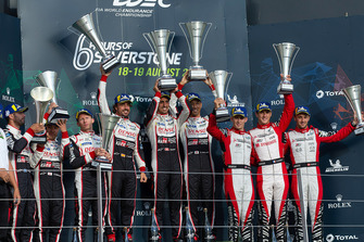 Podium: race winners #8 Toyota Gazoo Racing Toyota TS050: Sebastien Buemi, Kazuki Nakajima, Fernando Alonso, second place #7 Toyota Gazoo Racing Toyota TS050: Mike Conway, Kamui Kobayashi, Jose Maria Lopez, third place #3 Rebellion Racing Rebellion R-13: Mathias Beche, Gustavo Menezes, Thomas Laurent