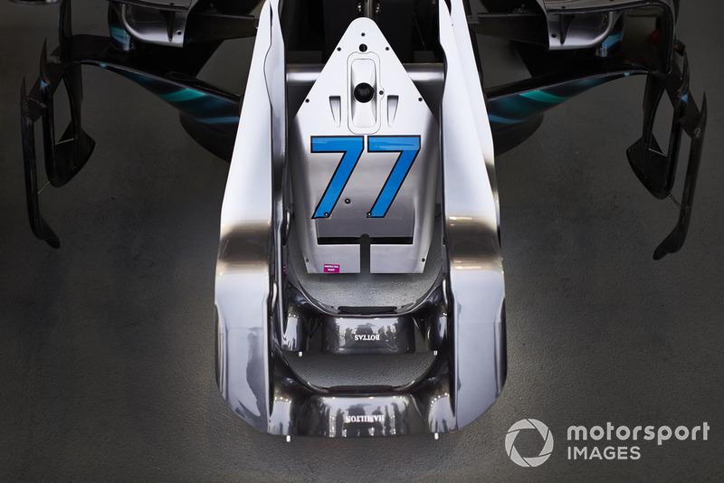 The number 77 of Valtteri Bottas, Mercedes AMG F1, on a piece of bodywork
