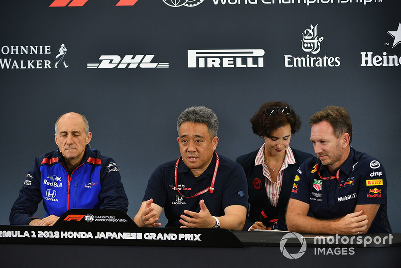 Franz Tost, Scuderia Toro Rosso Team Principal, Toyoharu Tanabe, Honda F1 Technical Director and Christian Horner, Red Bull Racing Team Principal in the Press Conference