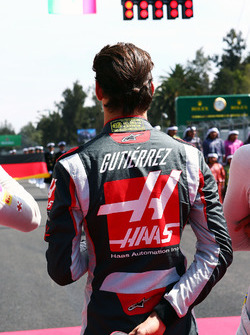 Esteban Gutierrez, Haas F1 Team as the grid observes the national anthem