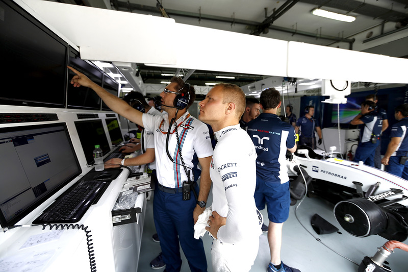 Valtteri Bottas, Williams, and Jonathan Eddolls, Race Engineer, Williams, discuss some data in the garage