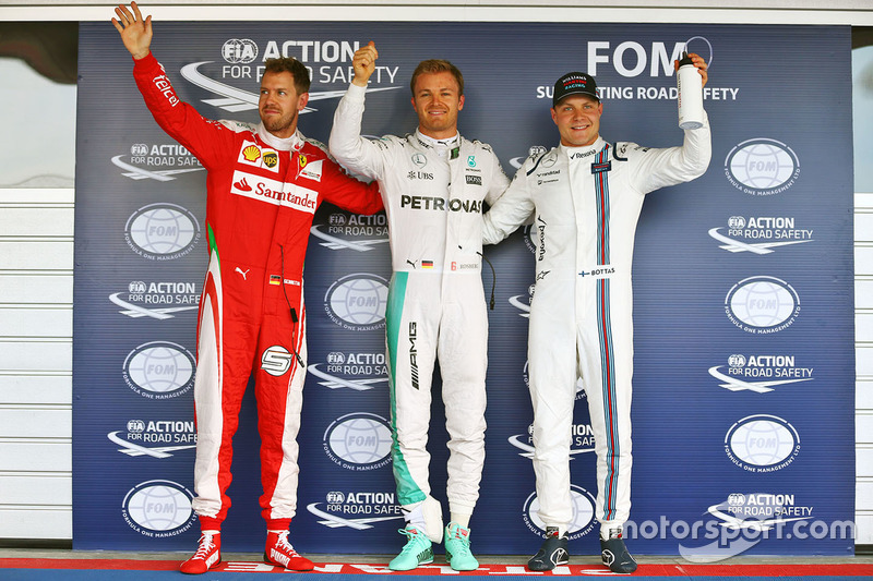 Polesitter: Nico Rosberg, Mercedes AMG F1 Team; 2. Sebastian Vettel, Ferrari; 3. Valtteri Bottas, Williams