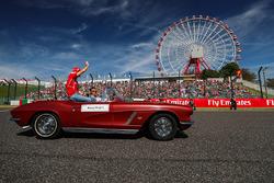 Sebastian Vettel, Ferrari tijdens de rijdersparade