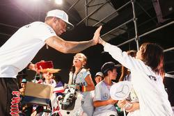 Lewis Hamilton, Mercedes AMG F1, high fives a fan