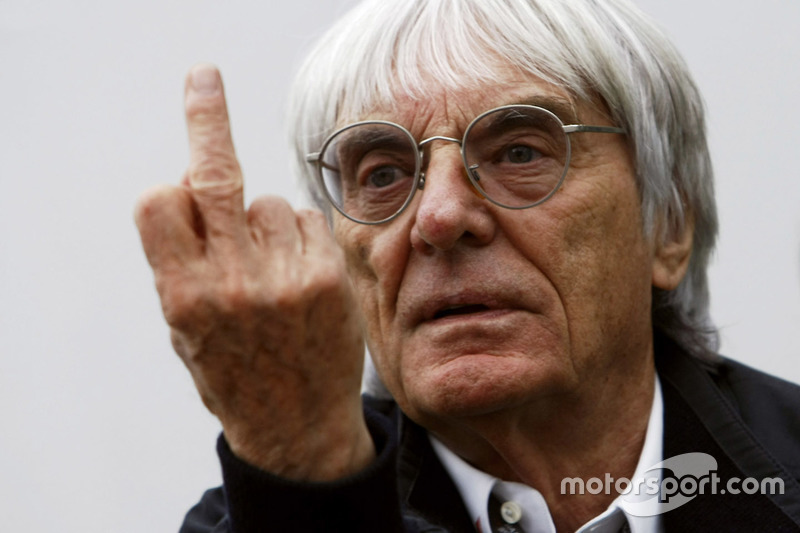 Bernie Ecclestone gives the finger