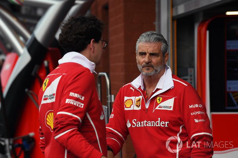 Maurizio Arrivabene, Ferrari Team Principal and Mattia Binotto, Ferrari Chief Technical Officer