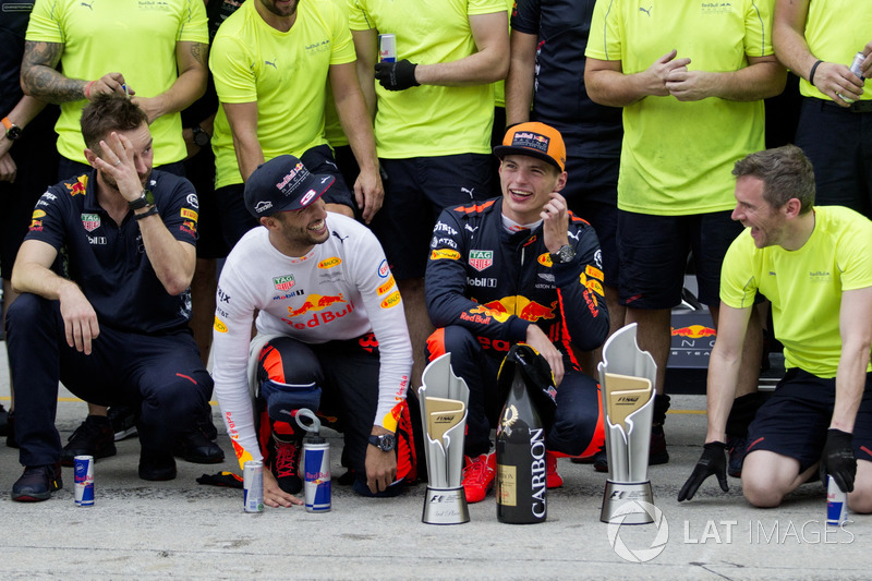 Daniel Ricciardo, Red Bull Racing and race winner Max Verstappen, Red Bull Racing celebrate, the team and the trophies
