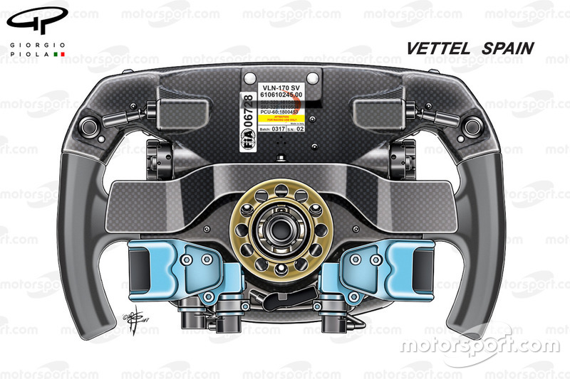 Ferrari SF70H, back view of Sebastien Vettel's steering wheel, Spanish GP