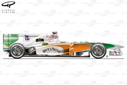 Force India VJM04 side view, launch car