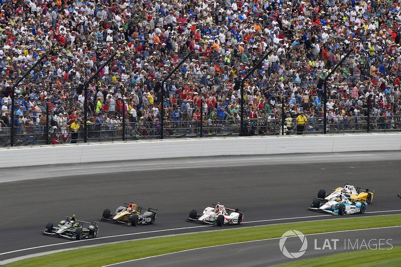 Juan Pablo Montoya, Team Penske Chevrolet, James Hinchcliffe, Schmidt Peterson Motorsports Honda, James Davison, Dale Coyne Racing Honda