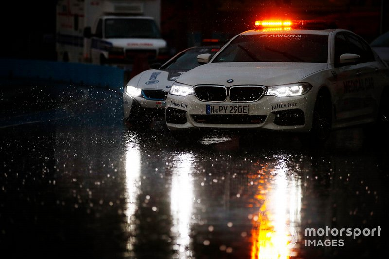 The medical car ventures out onto the wet track ahead of the Qualcomm BMW i8 Safety car