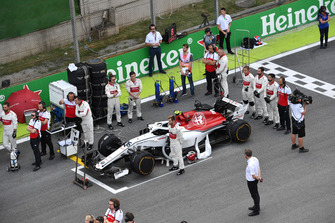 Alfa Romeo Sauber during the National Anthem on the grid