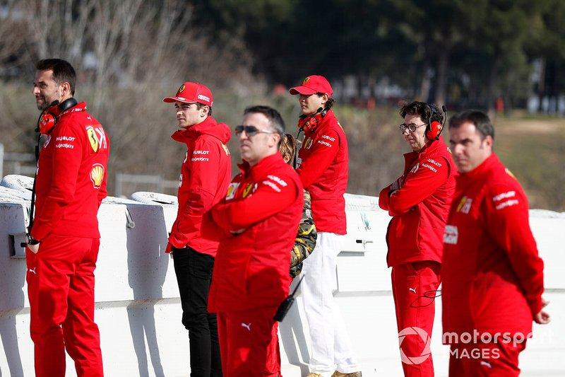 Mattia Binotto, Ferrari Team Principal, Charles Leclerc, Ferrari, John Elkann, FIAT