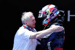 Max Verstappen, Red Bull Racing celebrates his first win in parc ferme with Dr Helmut Marko, Red Bul