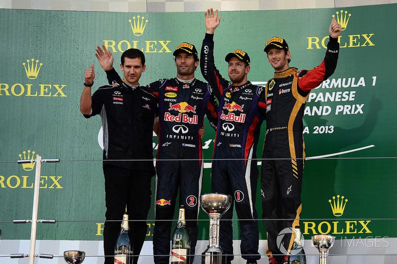 Remi Taffin, Head of Renault Sport F1 Track Operations, Mark Webber, Red Bull Racing, race winner Sebastian Vettel, Red Bull Racing and Romain Grosjean, Lotus F1 celebrate on the podium