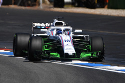 Lance Stroll, Williams FW41 con pintura aerodinámica en el ala delantera