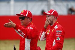 Sebastian Vettel, Ferrari, behind Kimi Raikkonen, Ferrari
