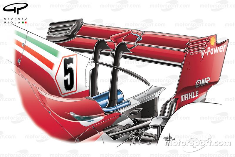 Ala trasera del Ferrari SF71H usada en e GP de Bélgica