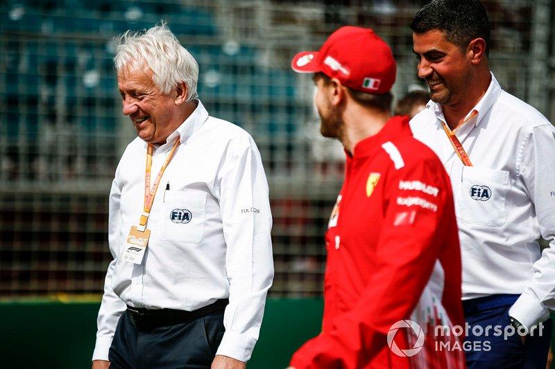 Charlie Whiting, Race Director, FIA, withSebastian Vettel, Ferrari