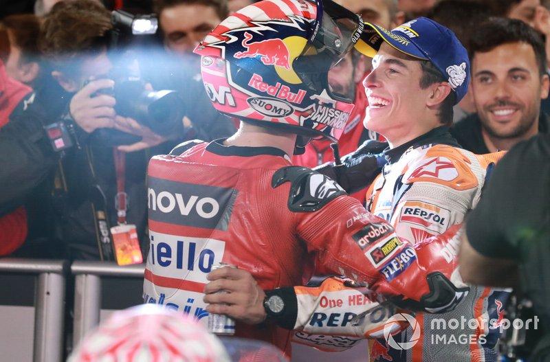 Andrea Dovizioso, Ducati Team, Marc Marquez, Repsol Honda Team in Parc ferme