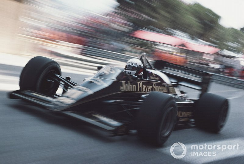In the Lotus 97T Renault at the 1985 Monaco GP.