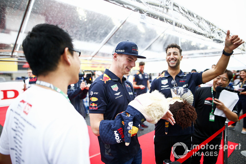 Max Verstappen, Red Bull Racing, and Daniel Ricciardo, Red Bull Racing, with puppets