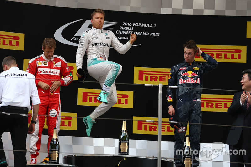 8. Podio: ganador Nico Rosberg, Mercedes AMG F1 Team, segundo lugar Sebastian Vettel, Ferrari y tercer lugar Daniil Kvyat, Red Bull Racing