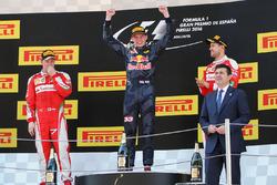 The podium, Ferrari, second; Max Verstappen, Red Bull Racing, race winner; Sebastian Vettel, Ferrari, third