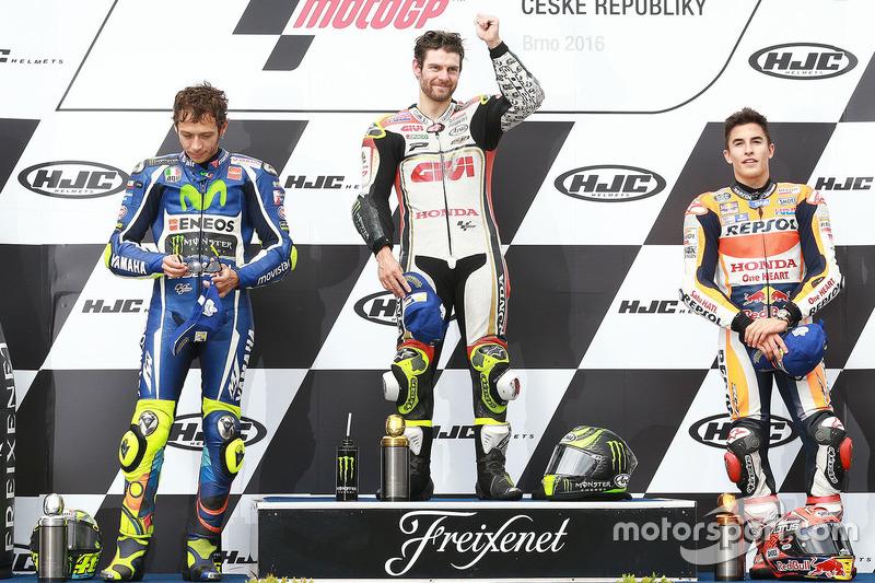 Podium: Sieger Cal Crutchlow, Team LCR, Honda; 2. Valentino Rossi, Yamaha Factory Racing; 3. Marc Ma