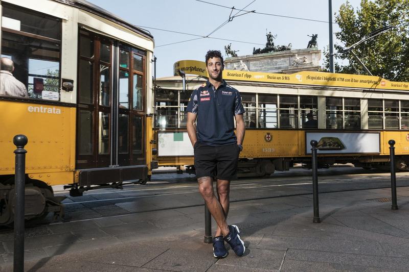Daniel Ricciardo poses for a portrait in front of Arco della Pace
