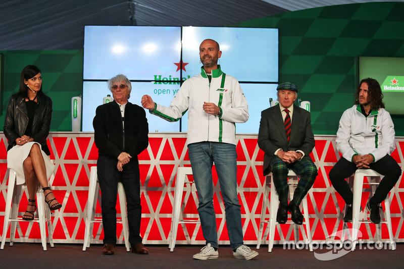 (L to R): Stephanie Sigman, Actress; Bernie Ecclestone, Heineken Global Head of Brand; Jackie Stewart, Former Football Player, at a Heineken sponsorship announcement