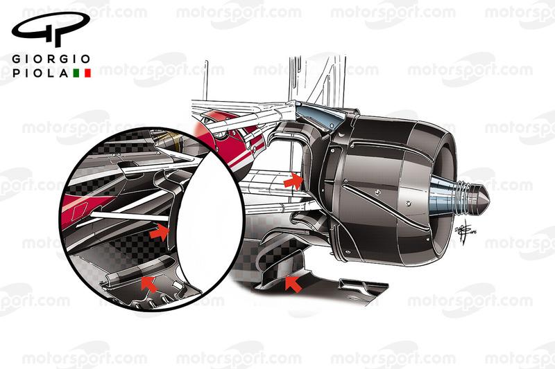 Ferrari SF16-H: Hinterer Bremskanal, Vergleich
